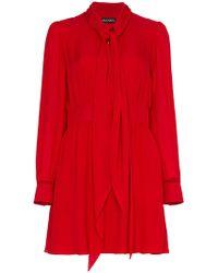 Haney - Sybil Silk Pussy-bow Mini Dress - Lyst