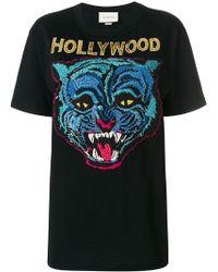 1079ec9db4d Gucci Logo T-shirt in Black - Lyst