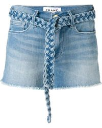 FRAME - Braided Belt Jean Shorts - Lyst