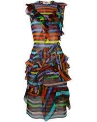 Givenchy - Striped Ruffle Shift Dress - Lyst