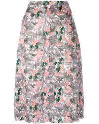 Julien David - Floral Printed Midi Skirt - Lyst