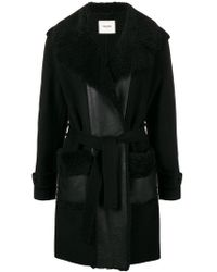 Max & Moi - Shearling Collar Belted Coat - Lyst