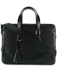 Versace - Perforated Leather Briefcase - Lyst