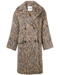 KENZO - Leopard-print Double-breasted Coat - Lyst