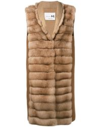 Manzoni 24 - Sleeveless Quilted Fur Jacket - Lyst