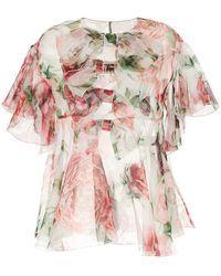 Dolce & Gabbana - Блузка С Принтом Пионов - Lyst
