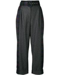 Isa Arfen - Tartan Detail Cropped Trousers - Lyst