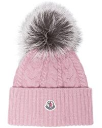 d99c4dbe098 new product 43b2b bf449 lyst moncler pink ribbed logo pom pom beanie ...