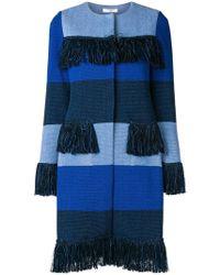 Charlott - Striped Frayed Coat - Lyst