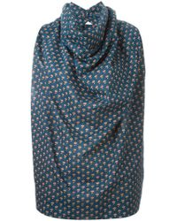 Vivienne Westwood Anglomania - Rose Print Cowl Neck Blouse - Lyst