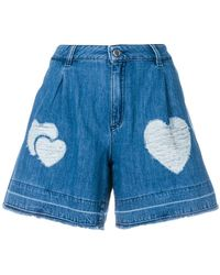 Love Moschino - Heart Patch Denim Shorts - Lyst