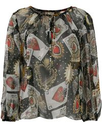 Dolce & Gabbana - Playing Cards Print Blouse - Lyst