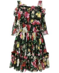 Dolce & Gabbana - Rose Print Ruffled Dress - Lyst