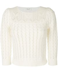 Saint Laurent   Embroidered Fitted Jumper   Lyst