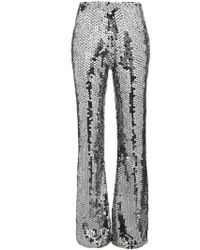Filles A Papa - Mid-rise Silver Sequin Embellished Trousers - Lyst
