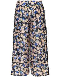 A Peace Treaty - Yuna Print Silk Linen-blend Cropped Trousers - Lyst