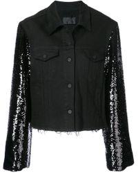 RTA - Sequined Sleeve Denim Jacket - Lyst