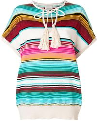 Laneus - Shortsleeved Striped Knitted Top - Lyst