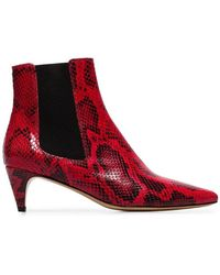 Étoile Isabel Marant - Red And Black Detty Snake Effect Leather Ankle Boots - Lyst