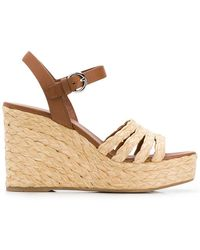 Prada - Leather And Woven Raffia Espadrille Wedge Sandals - Lyst