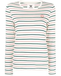 WOOD WOOD - Striped Logo Long Sleeved T-shirt - Lyst
