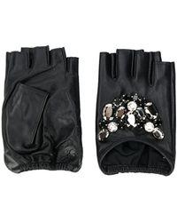 Karl Lagerfeld Guantes con detalle de piedras - Negro