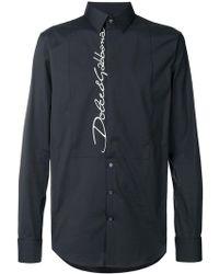 Dolce & Gabbana - Camicia con logo ricamato - Lyst