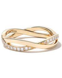 De Beers - 18kt Yellow Gold Infinity Half Pave Diamond Band - Lyst