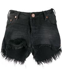One Teaspoon - Short en jean à bords frangés - Lyst