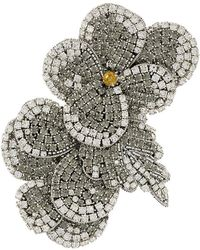 Rochas - Crystal Flower Brooch - Lyst