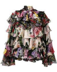269f989e0162f4 Dolce & Gabbana - Tiered Floral Blouse - Lyst