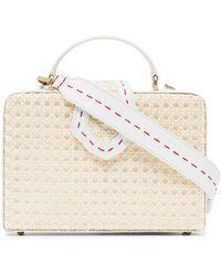 Mehry Mu - White Fey Large Leather Straw Box Bag - Lyst