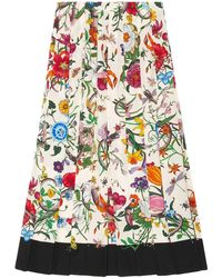 Gucci - Flora Snake Print Skirt - Lyst