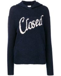 Closed - Jacquard Logo Knitted Hoodie - Lyst