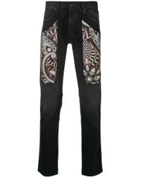 Jeckerson - Printed Detail Slim-fit Jeans - Lyst