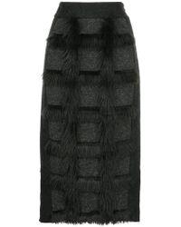 En Route - Fur Patch Midi Skirt - Lyst