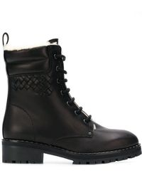 Bottega Veneta - Fur-lined Lace-up Ankle Boots - Lyst