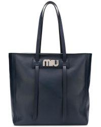 Miu Miu - Logo Plaque Shopper Tote - Lyst