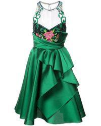 Marchesa notte - Embroidered Halterneck Ruffled Dress - Lyst