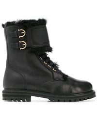 Ferragamo - 30mm Crotone Leather & Lapin Fur Boots - Lyst