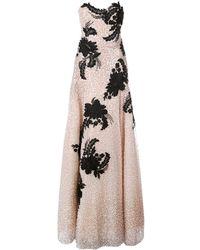 Marchesa Robe longue à fleurs brodées