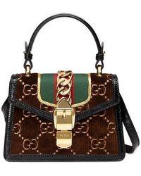 b6a42eeb0d1890 Gucci Sylvie Leather Mini Chain Bag in Gray - Lyst