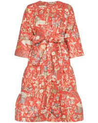 Rianna + Nina - Red Floral Print Quilted Cotton Long Sleeve Coat - Lyst