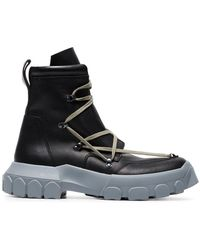 Rick Owens - Black And Stone Grey Hike Lace Up Leather Boots - Lyst