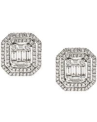 Gemco - 18kt White Gold And Diamond Stud Earrings - Lyst