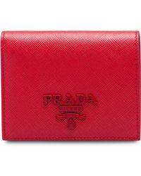 Prada - Small Saffiano Leather Wallet - Lyst