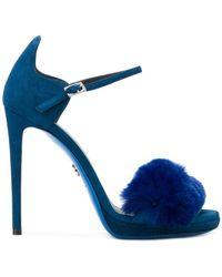 Loriblu - Fur Trim Stiletto Sandals - Lyst