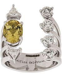 Delfina Delettrez - Anello Today Tomorrow DOTS in oro bianco 18kt con diamanti - Lyst