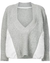 Sacai - Deep V-neck Jumper - Lyst