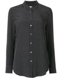 Equipment - Woman Essential Polka-dot Washed-silk Shirt Black - Lyst